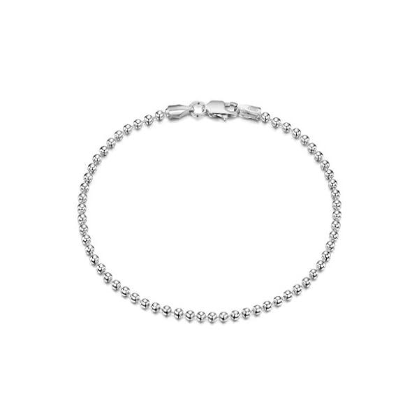 Amberta® Gioielli – Bracciale – Catenina Argento Sterling 925 – Modello Sfere – Larghezza 2 mm – Lunghezza: 18 19 cm