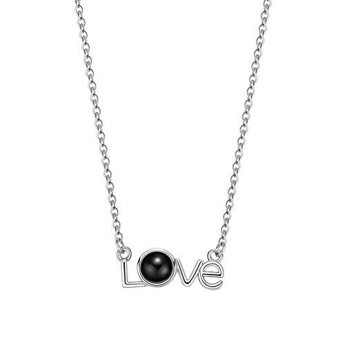 ITVIP Donna Collana d'Amore Collana di proiezione in 100 Lingue Ti Amo San Valentino Catena clavicolare Nessun sbiadimento 'Love'...