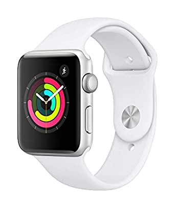 AppleWatch Series3 (GPS) con cassa 42mm inalluminio color argento ecinturino Sport bianco