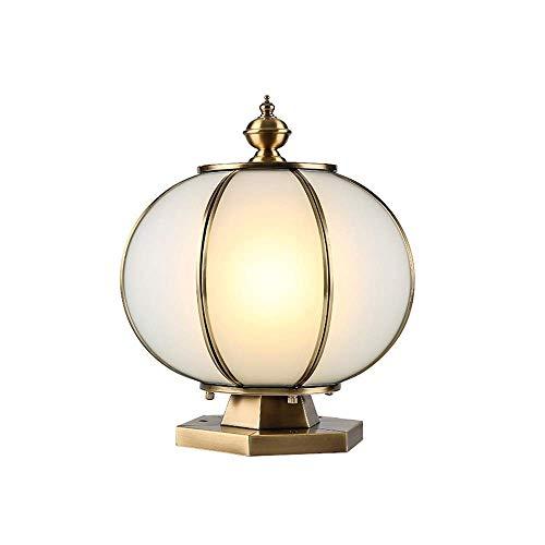 XIAOOL Europäische Bronze Glas IP44 wasserdicht Säule Licht Vintage Kupfer Metall Säule Lampe Ball Garten Landschaft Lichter Gang Außen Lampe Post Globe E27 sphärische Outdoor Tischlampen (Globes Deckenventilator Vintage)