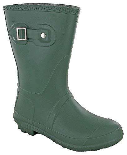 Short 3/4 Length Lightweight Wellingtons Womens Wellies Buckle Boots UK 3-9