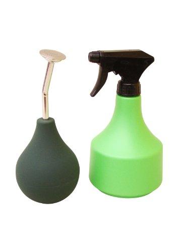 Bonsai Gießbrause (Ballbrause 250 ml) mit kurzem Hals, Farbe: grün + Sprühflasche 500 ml ALS SET