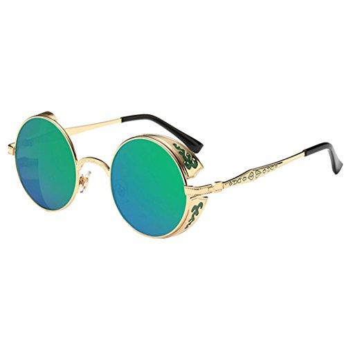 OverDose Unisex Vintage Classic Metallrahmen Sonnenbrille Katzenaugen Brille Reflektierenden Spiegel (E-C)