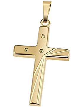 Goldmaid Unisex Anhänger Kreuz 333 Gold teilweise diamantiert