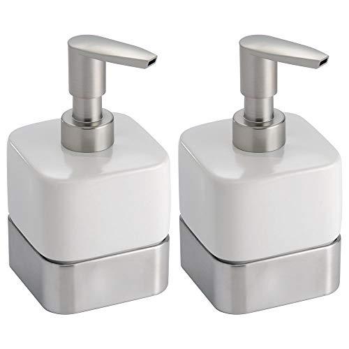 MetroDecor mDesign Dispensador de jabon rellenable - Dosificador de jabon en cerámica con Capacidad de 414 ml - Dispensador de jabon liquido para Cocina o baño - Blanco/Satinado - Paquete de 2