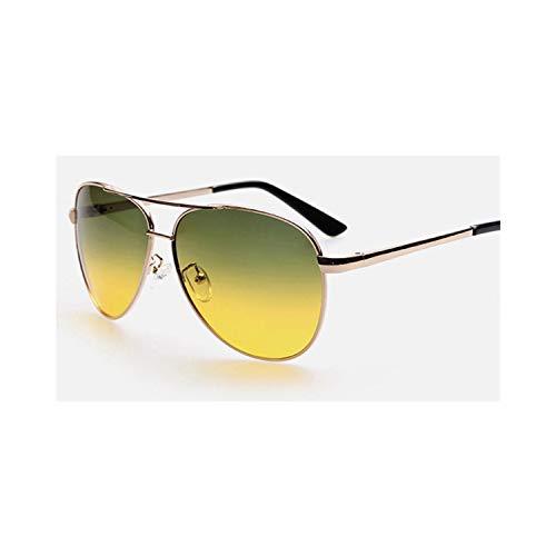 Sport-Sonnenbrillen, Vintage Sonnenbrillen, Best Day Night Driving Glasses Männer WoMänner HD Vision Driver Sunglasses At Night 2081 GREEN YELLOW 2