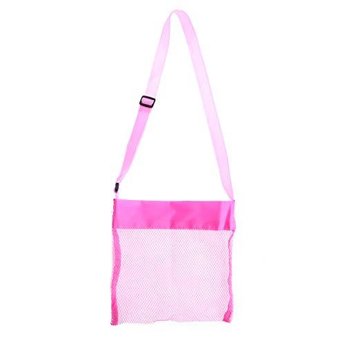 VORCOOL Kids Mesh Beach Bag Faltbare Shell Bags Bunte Spielzeug Aufbewahrungstasche für die Abholung Shell, Beach Mesh Tote Muschel Mesh-Taschen mit Verstellbaren Schultergurt