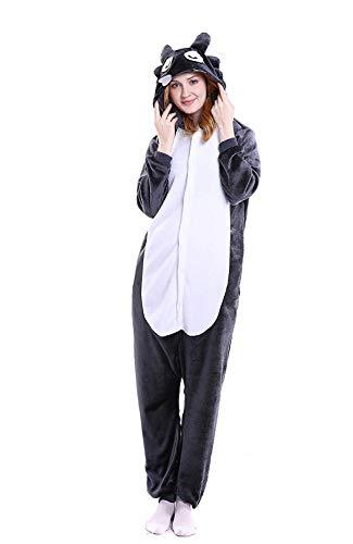 Wolf Kind Kostüm - ABYED® Kostüm Jumpsuit Onesie Tier Fasching Karneval Halloween kostüm Erwachsene Unisex Cosplay Schlafanzug- Größe S - für Höhe 148-155cm, Wolf