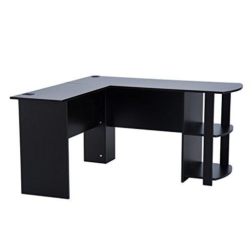 HOMCOM Eckschreibtisch Schreibtisch Computertisch Winkel Staufach Büro Schwarz L136 x B130 x H72cm