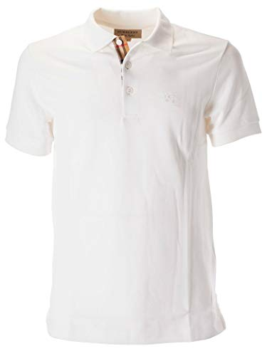 Burberry Polo Shirt Sale (L) Weiß Check Muster Polohemd London