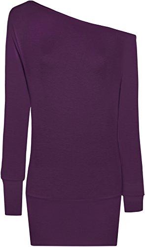 WearAll - Damen U-Boot-Ausschnitt langarm Top - 17 Farben - Größe 36-48 Violett