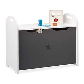 Relaxdays, Weiß-Grau Spielzeugtruhe für Kinder, Stauraum für Spielzeug, Sitzbank m. Deckel, HBT 47x57x30 cm, Sternmotiv, Standard