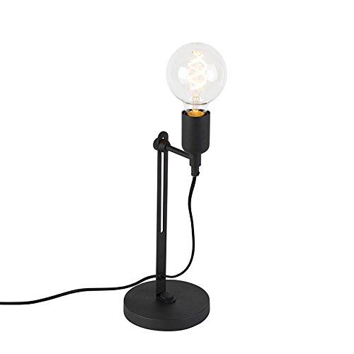 QAZQA Modern Moderne Tischleuchte/Tischlampe / Lampe/Leuchte schwarz - Slide/Innenbeleuchtung / Wohnzimmer/Schlafzimmer / Küche Metall Andere LED geeignet E27 Max. 1 x 60 Watt (Beleuchtung Slide)