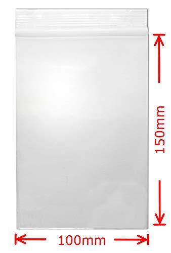WeltiesSmartTools Premium Druckverschlussbeutel 90my 100 Stück 100x150 mm Transparent Lebensmittelecht Wiederverschließbar FBA geeignet - 15 vers. Größen