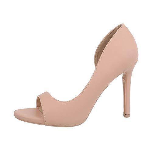 Ital-Design Damenschuhe Pumps High Heel Pumps Synthetik Altrosa Gr. 38 (Heel Design High)
