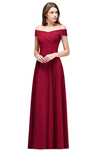 MisShow Damen elegant Abendkleid lang Burgundy Ballkleider Hochzeitkleider Festliches Partykleid...