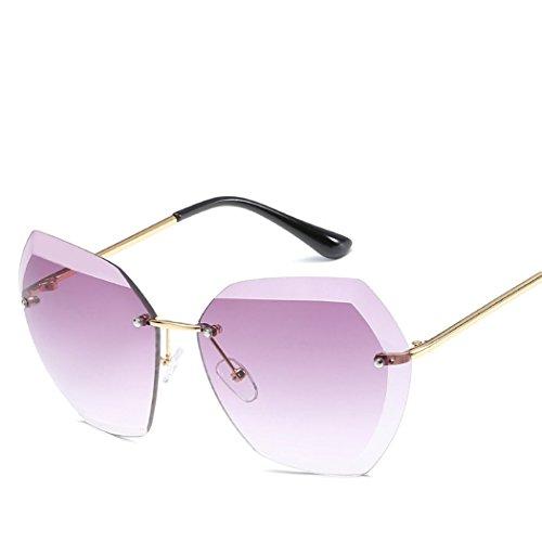 mioim Damen Rahmenlose Brille Sonnenbrille Mode Persönlichkeit Großer Spiegel UV400 Gläser Lila