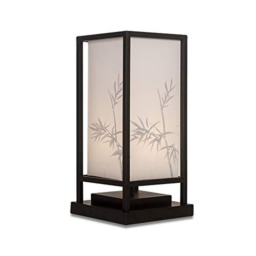Liutao Moderne minimalistische Neue chinesische tischlampe handbemalte Bambus Schatten Schlafzimmer nachttischlampe Wohnzimmer Studie (Color : Black, Größe : 20 * 42cm) - Reispapier Schatten