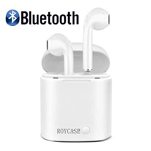 roycase Cuffie Bluetooth Senza Fili, Auricolari Bluetooth Sport 3D Stereo HD Cuffie Wireless con Microfono, Auricolari Senza Fili con Custodia di Ricarica Portatile per Samsung iPhone iPad Huawei