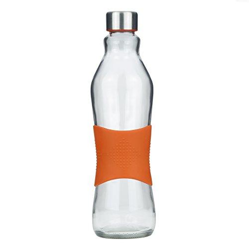 Grip & Go 1.0L Glas Wasserflasche / Kühlschrank Flasche - Rutschfester Silikongriff - Edelstahldeckel - ORANGE