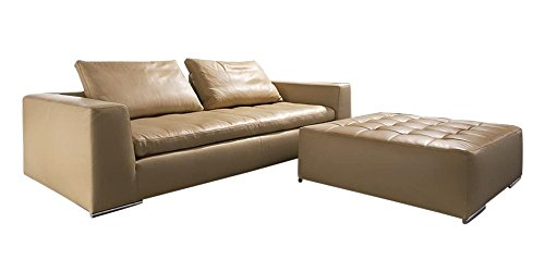 Afydecor Three Seater Leatherette Sofa with Low Back and Tufted Ottoman - Brown