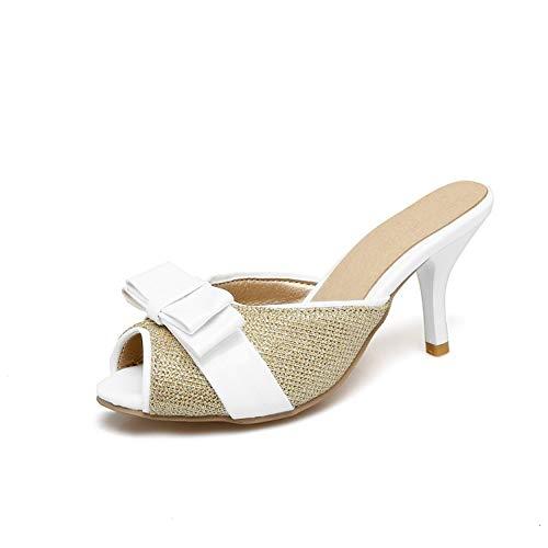 Rex rabbit-SS wasserdichte Damen Platform Bow Half Drag Sandalen mit hohem Absatz,Gold,39 -