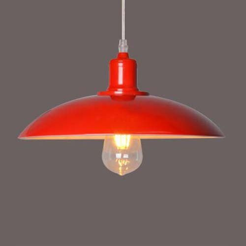 Vampsky 1-Light Einfache Kreative Eisen Metall Angelschnur Kronleuchter Pendelleuchte Wohnzimmer Esszimmer Scheune Lager Industrie Retro Einstellbare Hängelampe E27 (Color : Red)