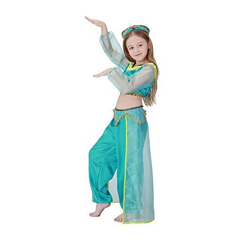 Yaxuan Mädchen Prinzessin/Bauchtanz-Kostüm/Cosplay-Kostüm/Party-Kostüm Weihnachten/Halloween/Kindertag-Festival/Urlaub Halloween-Kostüme Grün,1,L
