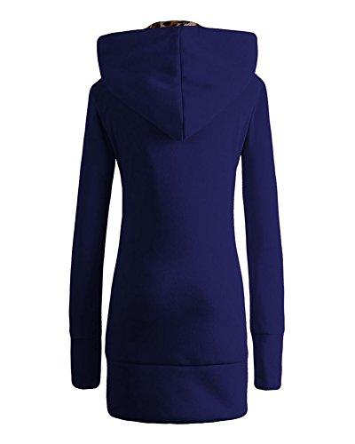 Donna Autunno Inverno Cappotto Con Cappuccio, Felpa Lunga Cappotti Sportive Con Cerniera Blu