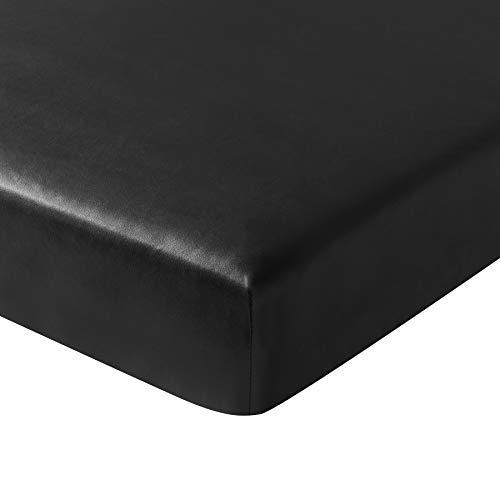 Subrtex Spandex Elastische Couch Kissenbezüge Stretch Stuhl Schonbezug Möbelschutz für Sofa Sitzkissen Loveseat Cushion schwarzes Leder -