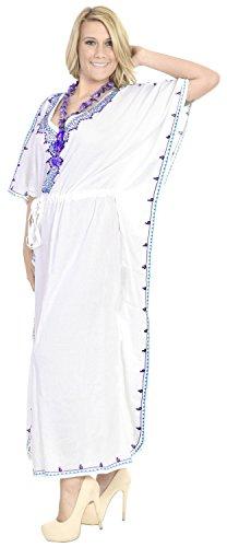La Leela frauen- Geschenk Halskette - Strand glatt sanft Rayon Kaftan langen Kaftan gestickten Nachtkleid Abend lässig Badebekleidung Kleid vertuschen weißer Schnee