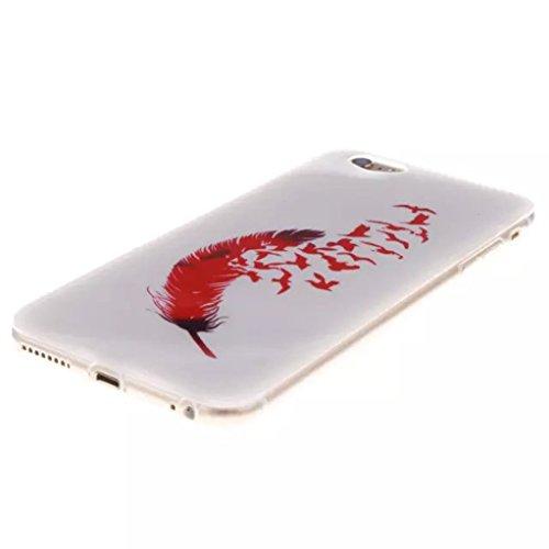 """Trumpshop Smartphone Case Coque Housse Etui de Protection pour Apple iPhone 6/6s 4.7"""" + Plume Rouge + Flexible Ultra Mince Silicone TPU Gel avec Absorption de Choc Plume Rouge"""