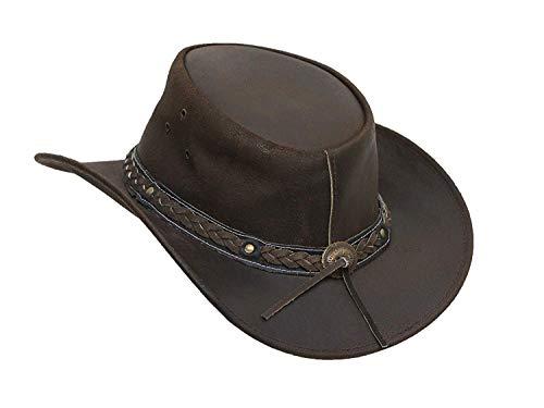 Brandslock Herren Vintage Schwarz und Braun Wide Brim Cowboy Aussie Style Western Bush Hat (Large, braun) (Aussie-hut)