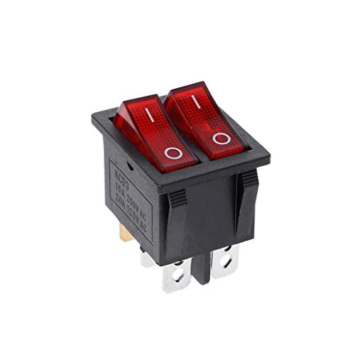 YoungerY Dual Boat Rocker Switch 6 Pin On-Off with Green Red Light 20A 125V AC -