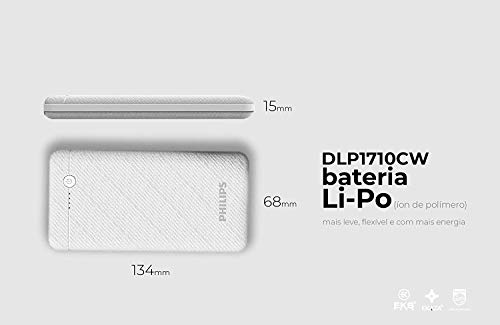 Philips DLP1710CB Fast Charging Power Bank 10000mAh with Lithium Polymer Battery White (Dual USB Output Port 3.1A, with Micro USB and Type c Input) Image 2