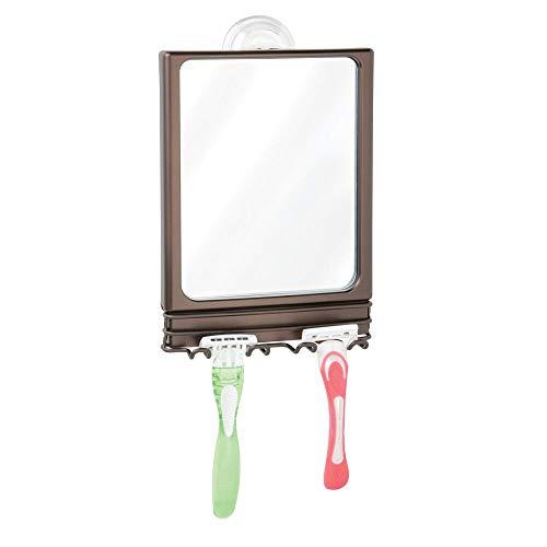 mDesign Rasierspiegel mit Saugnapf - stilvoller Badspiegel aus Edelstahl und Kunststoff - Duschspiegel mit 2 praktischen Haken für Rasierer - bronzefarben -