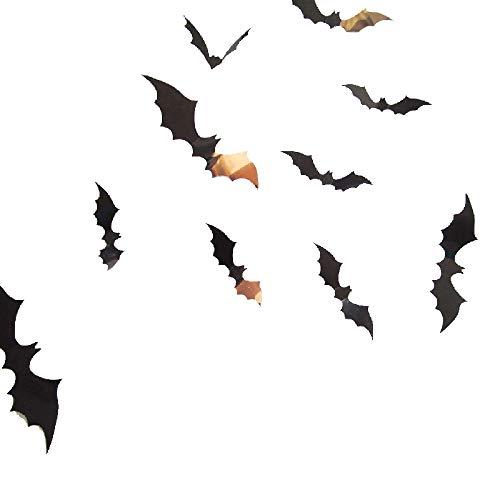 12 schwarz 3D DIY PVC Bat Wandaufkleber Aufkleber Haus Halloween-Dekoration