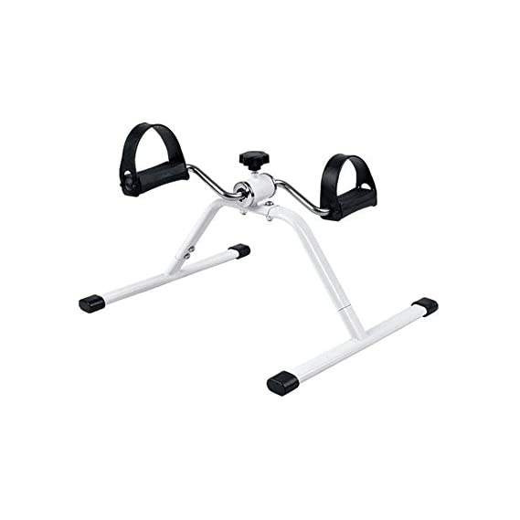 DGB Pedal Exercise Mini Bike, Cycle Aid with Adjustable Resistance Ab Care King Toner (White)