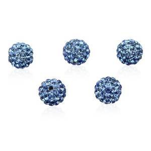 Superbe Perle 10mm Perles Boules Disco en cristal clouté, bleu clair strass, perles Craft Shamballa inspiré (5pièces)