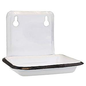 MACOSA SA05500 Jabonera Blanca esmaltada, Estilo Vintage, Soporte para jabón, Montaje en Pared, Soporte para jabón, para baño, Cocina, Almacenamiento de jabón