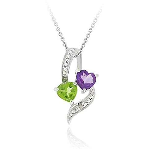 Sterling Silver Amethyst & Peridot Diamond Accent Double Heart Pendant