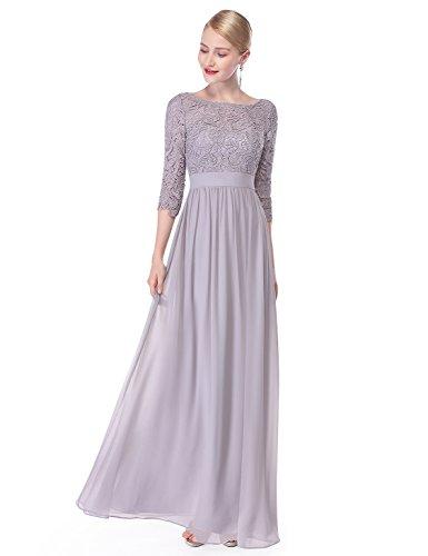 Ever Pretty Damen Elegant 3/4 Aermel Lace Lang Abend Kleider 36 Grau EP08412GY04 (Lange Chiffon-kleid Grau)
