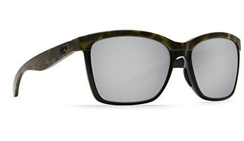 New Costa del Mar anaa 109Olive Shiny deliktrechts auf Schwarz Sonnenbrille für Damen, Silber, ANA109OSCP