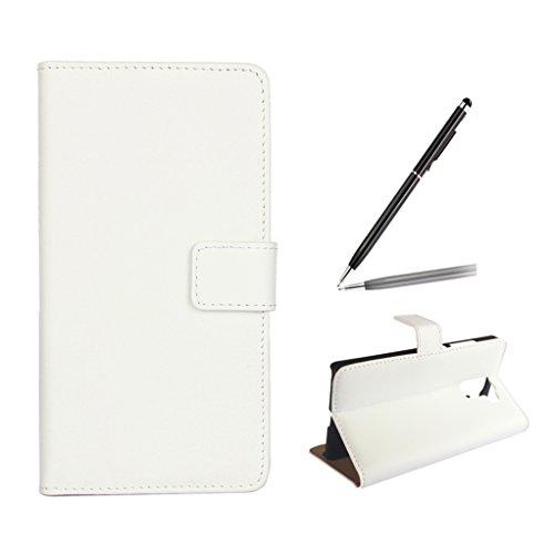 trumpshop Smartphone Schutz Schale Tasche Handyhülle für Huawei Honor 7 + Weiß + Echtleder Flip Etui Hülle SchutzHüllen Standfunktion Kredit Kartenfächer [Nicht kompatibel mit Honor 7i]