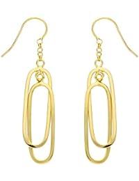 Adara 9 ct Yellow Gold Double Oval Drop Earrings
