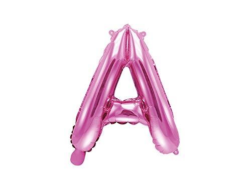 SiDeSo® Folienballon 35cm Rosa Heliumgeeignet Party Geburtstag Jahrestag Hochzeitstag Jubiläum Zahlenluftballon Luftballon Buchstabe Zahl Alphabet (Buchstabe A) (Auf Geburtstags-luftballons Sie Namen Mit)