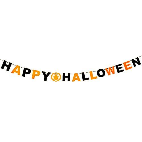 Leisial. Halloween Banner Halloween Dekorationen Trick or Treat Banner Halloween - Party Halloween-Dekoration Banner 16-18CM Happy ()