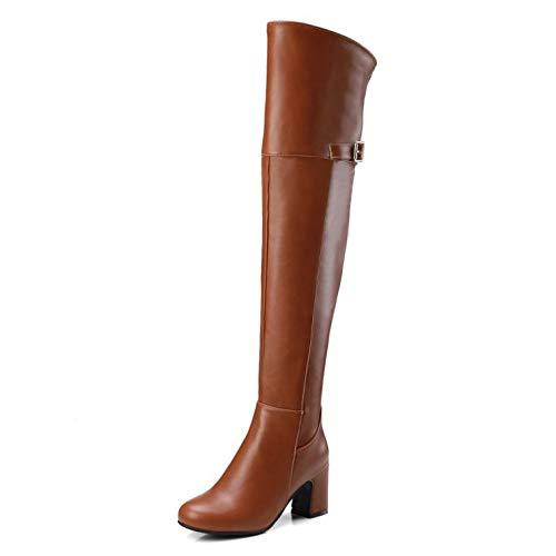 Pu Oberschenkel Hohe Stretch-reißverschluss (MKIAZ Damen Mid Heel Leder PU Reißverschluss Sexy Oberschenkel Hoch Damen Hohe Stiefel,Brown-EU:38=7.5B(M) US)
