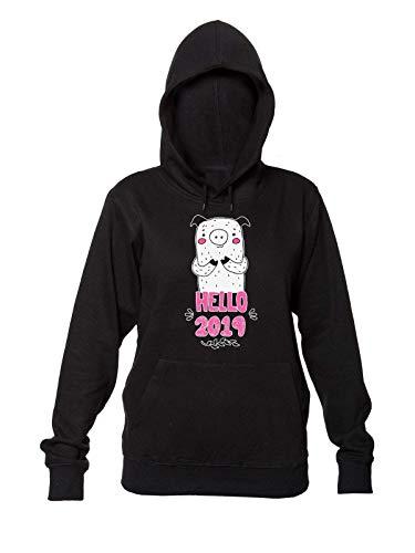 Finest Prints Hello 2019 New Pig Year Design Kapuzenpulli für Damen Small
