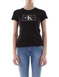 68d52114b2a Calvin Klein T-Shirt col Rond Noir Logo Blanc pour Femme